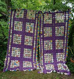 Exquisite 1930's Purple and Prints Fabrics Yo Yo Quilt - For sale on Ruby Lane