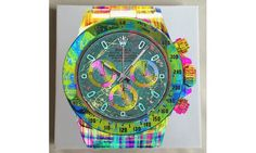 Daytona Fluo Watch On White - Limited Edition of 20 only Monopoly, Rolex, Pop Art, Crystals, Watch, Clocks, Clock, Art Pop, Crystal