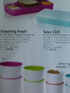 Get canisters and topper set for $45 with bright colored seals