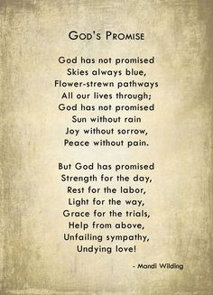 God's Promise poem -- Gives comfort in the face of tragedy ...