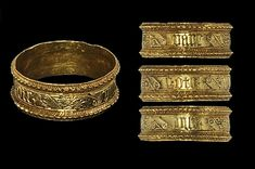 15th century AD Epigraphic finger ring. A delicate decorative finger ring of Continental origin, the hoop comprising raised dentilled borders enclosing the median band within panels of hatched and scrolled ornament separating epigraphic panels; the text in gothic script reading 'vane gote une', possibly translating to 'one [cheek] in vain', possibly Italian workmanship. Gold (Auctioneer website, 5 October 2012)