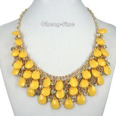 Fashion Gold Yellow Drop Shape Acrylic Beads Rhinestone Choker Bib Link Necklace #DropDangle