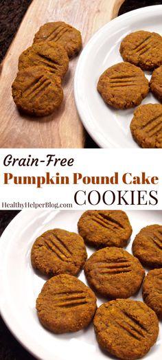 Grain-Free Pumpkin Pound Cake Cookies from Healthy Helper...vegan, gluten-free, grain-free, and paleo friendly! These cookies combine the best of two desserts into one delicious treat! http://healthyhelperblog.com?utm_source=utm_source%3DPinterest&utm_medium=utm_medium%3Dsocialmedia&utm_campaign=utm_campaign%3Dblogpost