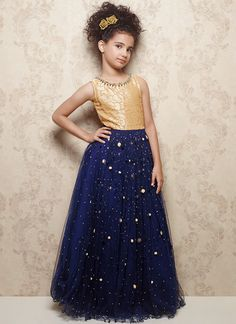 Buy Beige And Blue Brasso Cut Fabric Wedding Wear ReadyMade Gown For Girls kids-girl-gown online from Mirraw Gowns For Girls, Frocks For Girls, Kids Frocks, Kids Outfits Girls, Cute Outfits For Kids, Little Girl Dresses, Girl Outfits, Girls Dresses, Kids Indian Wear