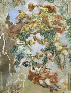 Pietro da Cortona central motif of Barberini Ceiling with Papal Arms assembled of airborne living elements Palazzo Barberini, Rome Italian Baroque, Baroque Art, Caravaggio, Baroque Architecture, Peter Paul Rubens, Miguel Angel, Antique Prints, Aesthetic Art, Portrait