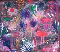 """Threads of Light Connecting Us All, oil on canvas 25""""x26"""" by Barbara Mayfield 2015"""