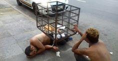 Presos são algemados em lixeira após horas dentro de viatura no RS