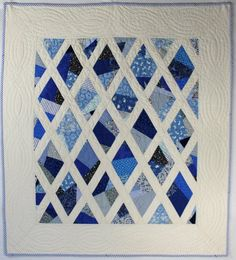 Blue and White Diamond Crib Quilt by Stacey Sharman