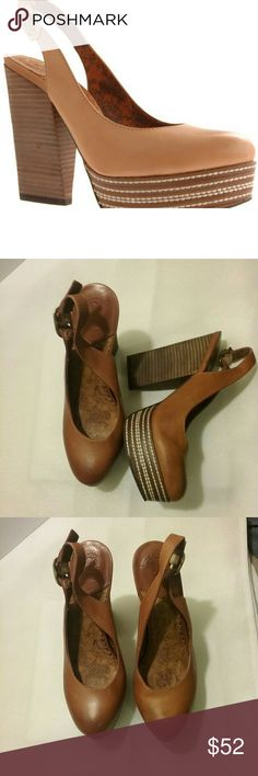 """Lucky brand shoes These beautiful styling slingbacks shoes feature a platform sole with embroidered details and a stacked wooden heel.  Heel Height: 5"""" Front Height: 1 1/4"""" Fit: True to Size Upper: Vachetta Leather Size: 6 Lucky Brand Shoes Platforms"""