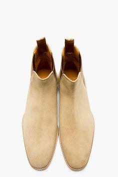 SAINT LAURENT tan suede chelsea boots. sexy.