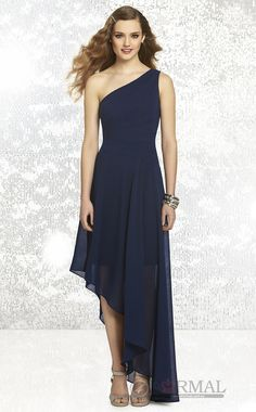 Blue Chiffon One Shoulder Formal Dress wear (BDAU-0842) at 4formal.com.au