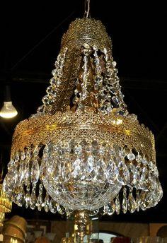 crystal victorian pierced brass antique chandelier