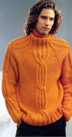 Men's Hand Knitted Wool Turtleneck Sweater 44B