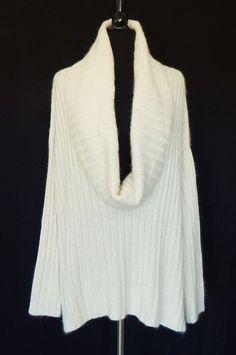 ANN TAYLOR Ivory White Deep Draped Cowl Oversized Angora Blend Sweater Size M #AnnTaylor #CowlNeck