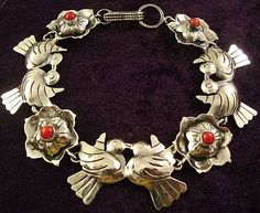 US $195.00 New without tags in Jewelry & Watches, Ethnic, Regional & Tribal, Mexican Mexican Jewelry, Southwest Jewelry, Mexico Art, Aztec Art, Jewelry Watches, Silver Jewelry, Coral, Bird, Sterling Silver
