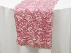 Satin Rosette Table Runner Size 14 x 108.  All Colors. by Zemboor