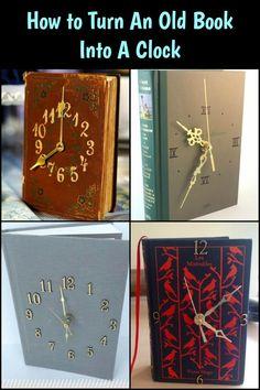Upcycle One Hardbound Book Into a Beautiful Clock! Upcycle One Hardbound Book. Upcycle One Hardbound Book Into a Beautiful Clock! Upcycle One Hardbound Book in eine schöne Uhr! Diy Old Books, Old Book Crafts, Recycled Books, Old Book Art, Recycled Glass, Vintage Upcycling, Diy Upcycling, Upcycling Projects, Repurposing