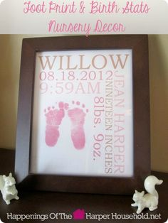 Making It Monday: Foot Print & Birth Stats Nursery Decor My Baby Girl, Our Baby, Baby Born, Girl Nursery, Nursery Decor, Nursery Ideas, Baby Memories, Everything Baby, Nursery Inspiration