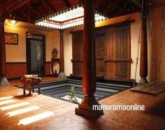 Indian Home Design, Indian Home Interior, Kerala House Design, Indian Interiors, Kerala Traditional House, Traditional House Plans, Traditional Homes, Village House Design, Village Houses