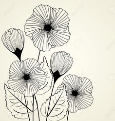 Vector Silhouette Of Garden Flowers In The Background Royalty Free Cliparts, Vectors, And Stock Illustration. Image Of Garden Flowers In The Background Royalty Free Cliparts, Vectors, And Stock Illustration. Flower Outline, Flower Art, Flower Plants, Flowers Garden, Garden Illustration, Flower Sketches, Floral Drawing, Plant Drawing, Wall Drawing