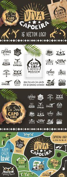 Capoeira Brazilian martial art logo by Peliken on @creativemarket Capoeira Brazilian fighting dance logo badges. Traditional activity with music, acrobatics and martial arts elements, movements and fighting contest. Vector logo for the capoeira souvenirs