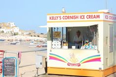 kelly's Cornish ice cream in st ives. its always in the same spot. such a cute little van