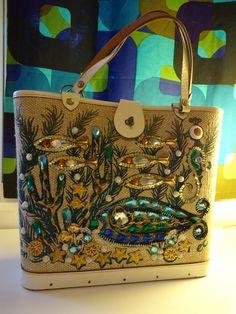 Vintage, purse, Enid, Collins, Texas, beadwork, sea, garden, fish, aquatic, seaweed, green, blue, yellow, brown. $250.00, via Etsy.