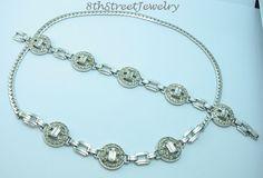 Estate Engel Bros. Art Deco Sterling Silver 925 Rhinestone Bracelet Necklace SET #EngelBrosInc