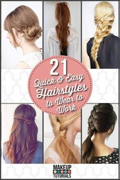 Easy Hairstyles for Work | Quick DIY Hairstyles by Makeup Tutorials at http:/makuptutorials.com/easy-hairstyles-for-work/