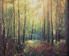ARTFINDER: Glistening Woodland by Helen Shepherd - Framed original oil painting on primed artist's plywood panel with an off white frame.   Evening sun glistens through the trees in dense North Norfolk wood...