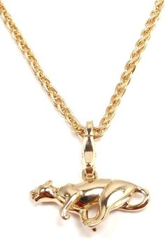 CARTIER Panther Pendant Link Yellow Gold Necklace image 4