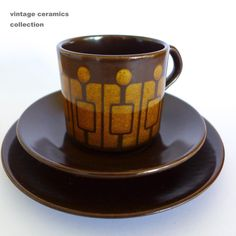 Chocolate Brown CROWN LYNN Kelston Ceramics Vintage Retro TRIO Cup Saucer Plate