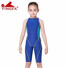 e49dca6ff4 Yingfa children sharkskin swimwear kids swimming racing suit competition swimsuits  girls professional swim solid child Blue