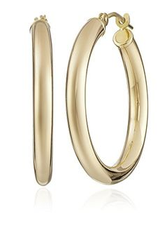 SALE PRICE  $108.63 - Classic hoop earring crafted from 14k yellow gold and secured with click-top backing Duragold is the threshold of karat gold jewelry, lustrous in 14k yellow or white gold. Duragold jewelry is constructed with a unique and patented alloy resisting denting and scratching, and its hypoallergenic quality is especially beneficial for sensitive skin.