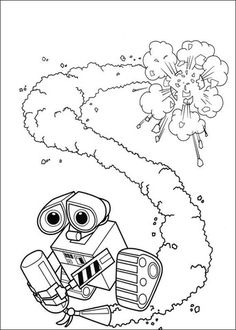 wall e with fire extinguisher coloring page