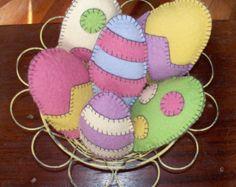 Wool Felt Easter Eggs - Set of 3