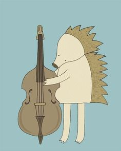 Hedgehog Playing Standup Bass by barkingbirdart via Etsy