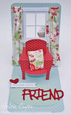 The Dining Room Drawers: Pop 'n Cuts Chair & Window Card (with Tutorial) 3d Cards, Pop Up Cards, Cool Cards, Tarjetas Pop Up, Paper Pop, Elizabeth Craft Designs, Retirement Cards, Window Cards, Scrappy Quilts