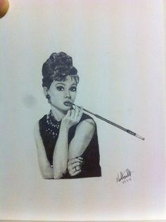 #audrey #hepburn #portrait #blackandgrey #realism