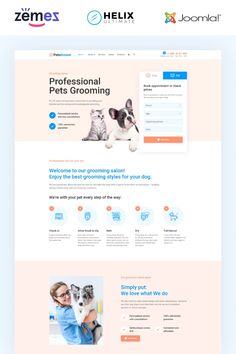 Sustainable Pet Grooming Joomla ThemeThe pet grooming Joomla theme can give your business everything necessary for online promotion.