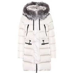 Moncler Aphrotiti fur-trimmed down coat ($1,375) ❤ liked on Polyvore featuring outerwear, coats, moncler, down coat, fur trim coat, white coat and white down coat