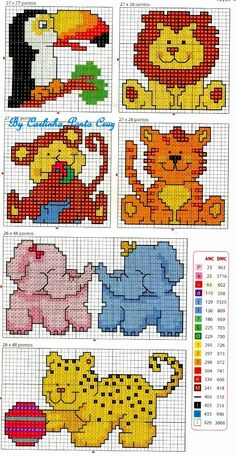 Cross Stitch Charts Cute and simple cross stitch animals, ideal for kids' cards or patch detail on clothing. How about a patch on a pencil case? Cross Stitch For Kids, Cross Stitch Cards, Simple Cross Stitch, Cross Stitch Baby, Cross Stitch Animals, Cross Stitching, Cross Stitch Embroidery, Embroidery Patterns, Simple Embroidery
