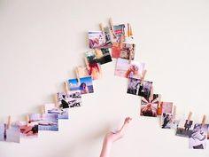 Como fazer um varal de fotos. Uma forma bem legal de decorar com fotos :)