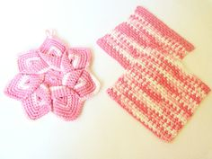 Dishcloths and Potholder Set  Rose Pink and White by BeyondCrochet