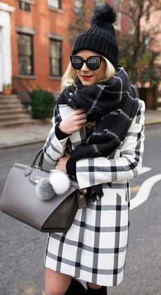 winter fashion white plaid
