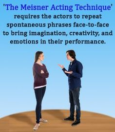 Emotional memory has been a part of 'method' acting since time immemorial, but the revolutionary impact of the Meisner technique cannot be ignored. It states that the basis of acting is the reality in doing it. Acting Lessons, Acting Class, Singing Lessons, Acting Tips, Singing Tips, Acting Career, Acting Skills, Drama School, Drama Class