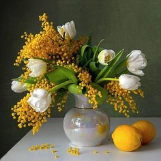 STILL LIFE TULIPS AND LEMONS - So simple, so obvious, so lovely.