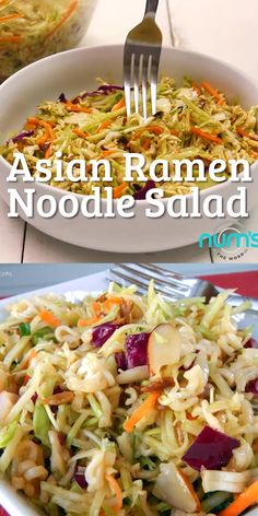 *VIDEO* This Asian Ramen Noodle salad takes 20 minutes to whip together and can be made the night before.  Easy, quick and one of our favorite salads! #salad #sidedish #asian #coleslaw #slaw #asiancoleslaw #ramennoodle #broccolislaw #almonds #potluck #recipes #numstheword #video