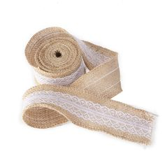 ROSENICE Burlap Lace Ribbon DIY Craft Ribbon Rolls Rustic Wedding Home Decoration ** Want additional info? Click on the image.