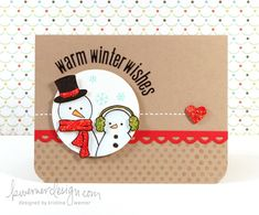 """http://www.kwernerdesign.com/blog/?p=6838    Two stamped snowmen  Blue - slightly watercolored (pencil)  SU markers for solids (scarf, earmuffs)  Used 2 1/2"""" circle punch  Watermark (Versamark) polka dots on card, with rounded corners  Diamond Stickles on heart"""